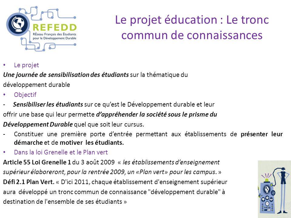 Le projet éducation : Le tronc commun de connaissances
