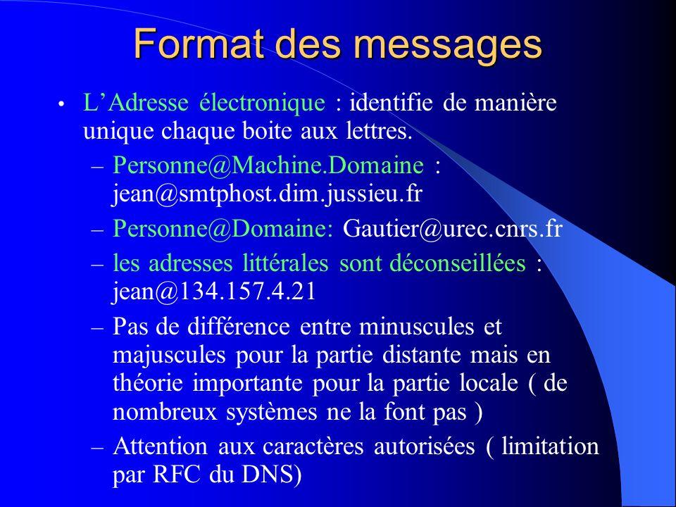 Format des messages L'Adresse électronique : identifie de manière unique chaque boite aux lettres.