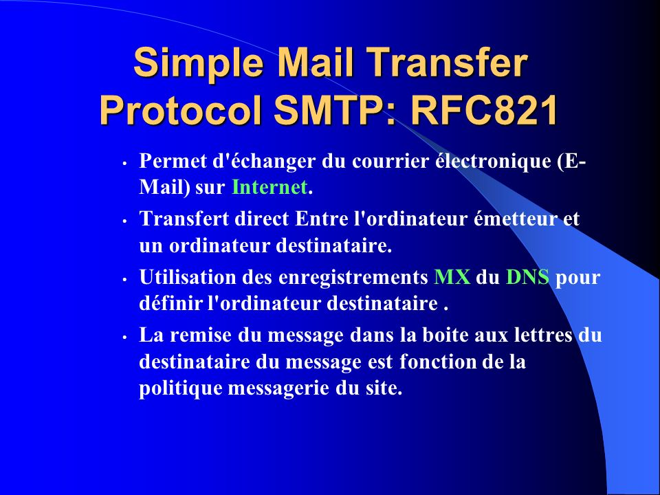 Simple Mail Transfer Protocol SMTP: RFC821