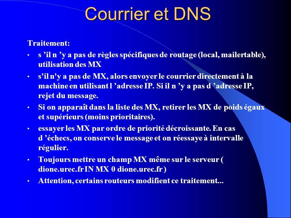 Courrier et DNS Traitement: