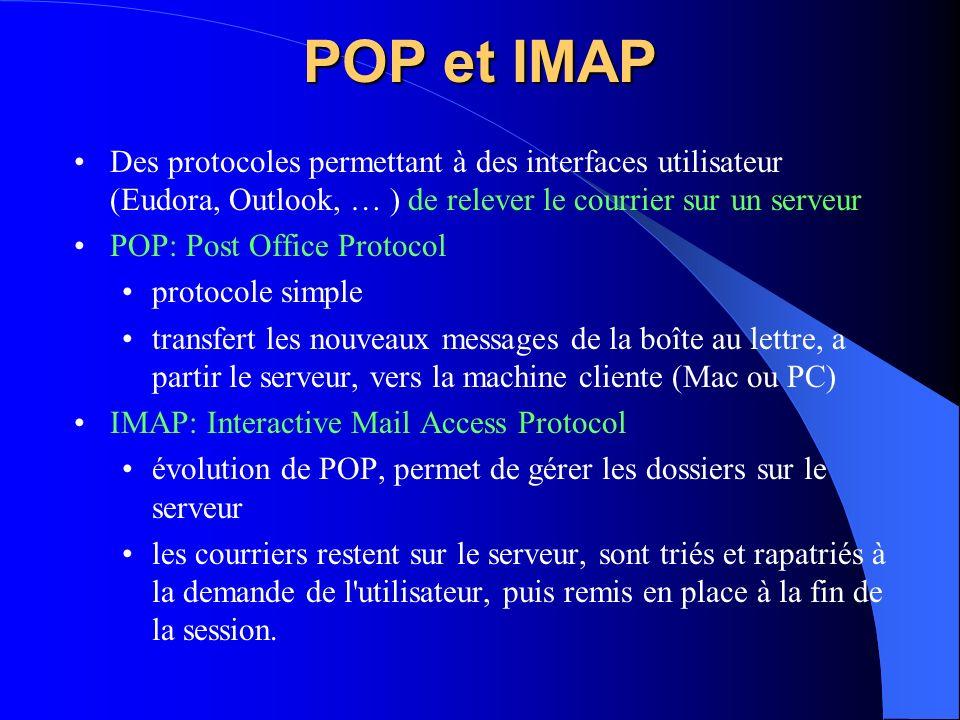 POP et IMAP Des protocoles permettant à des interfaces utilisateur (Eudora, Outlook, … ) de relever le courrier sur un serveur.
