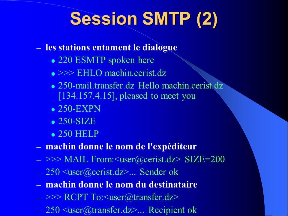 Session SMTP (2) les stations entament le dialogue