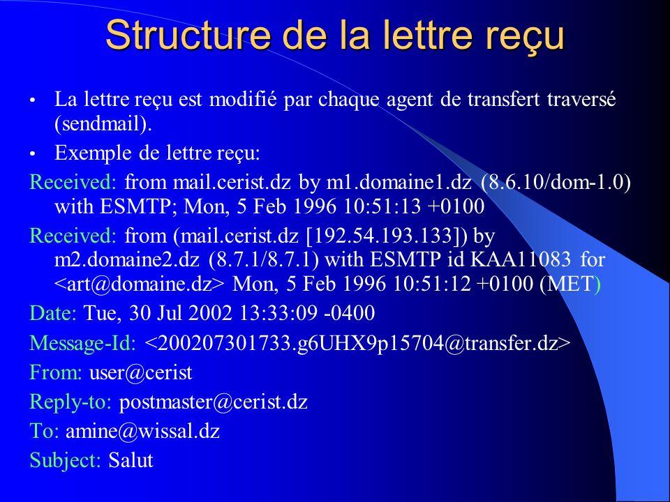 Structure de la lettre reçu