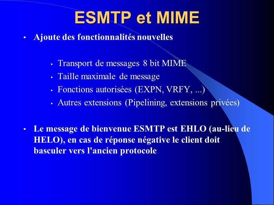 ESMTP et MIME Ajoute des fonctionnalités nouvelles