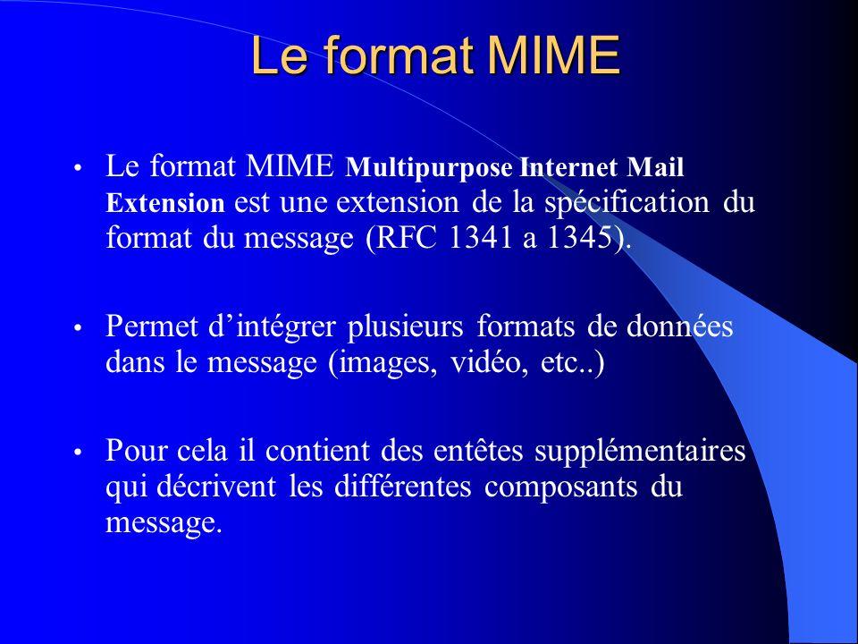 Le format MIME Le format MIME Multipurpose Internet Mail Extension est une extension de la spécification du format du message (RFC 1341 a 1345).
