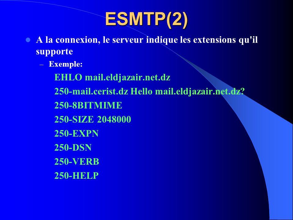 ESMTP(2) A la connexion, le serveur indique les extensions qu il supporte. Exemple: EHLO mail.eldjazair.net.dz.