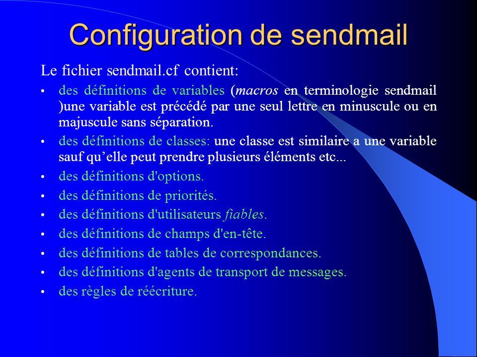 Configuration de sendmail