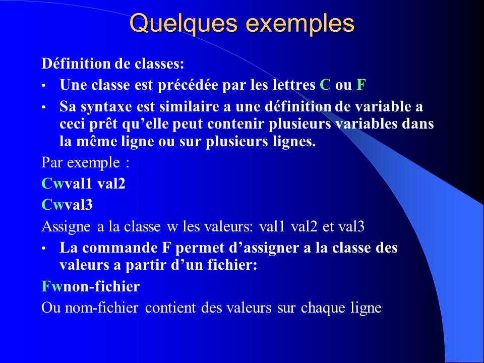 Quelques exemples Définition de classes: