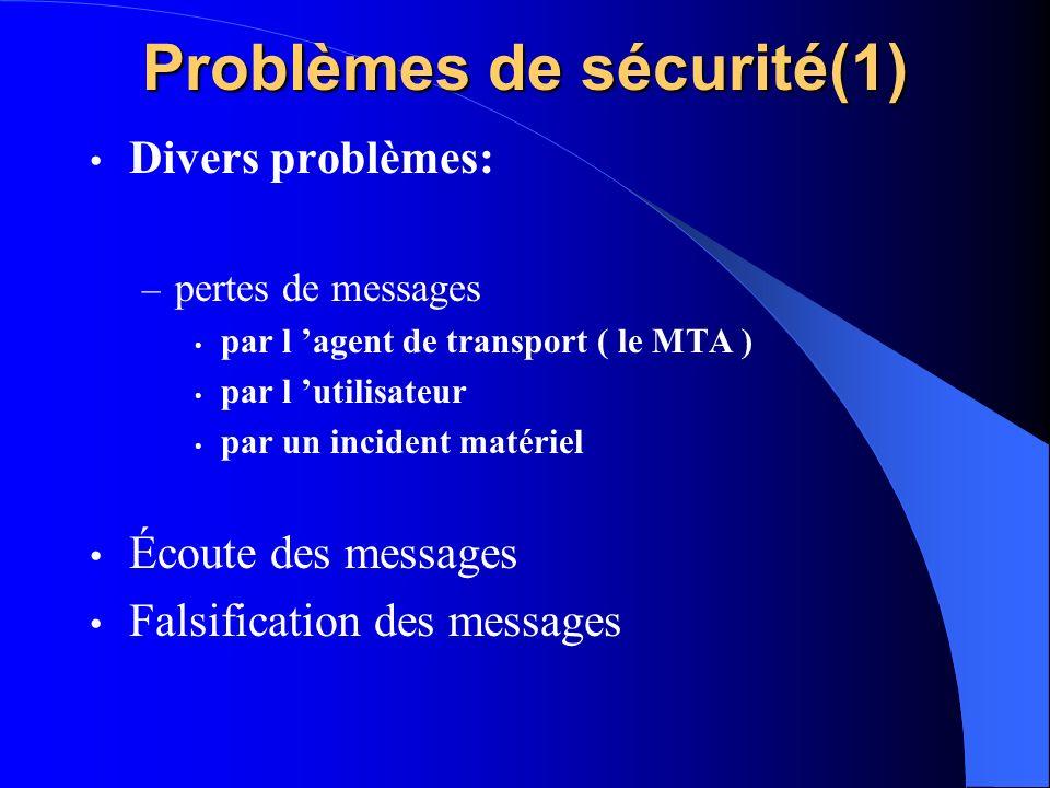 Problèmes de sécurité(1)