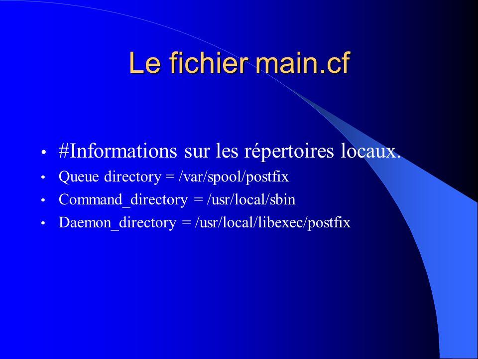 Le fichier main.cf #Informations sur les répertoires locaux.