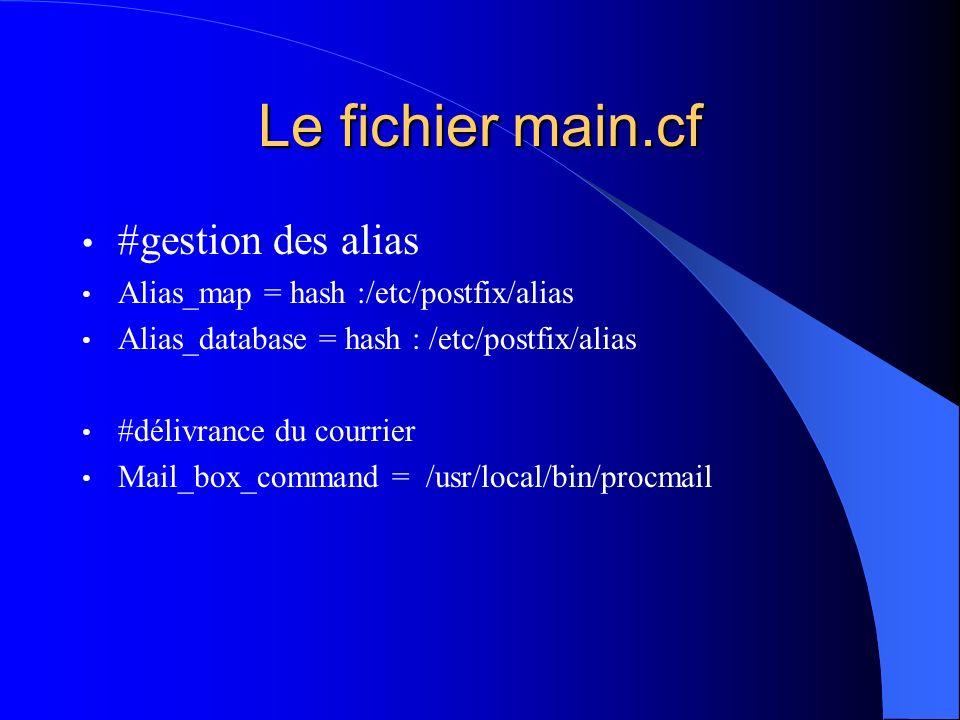 Le fichier main.cf #gestion des alias