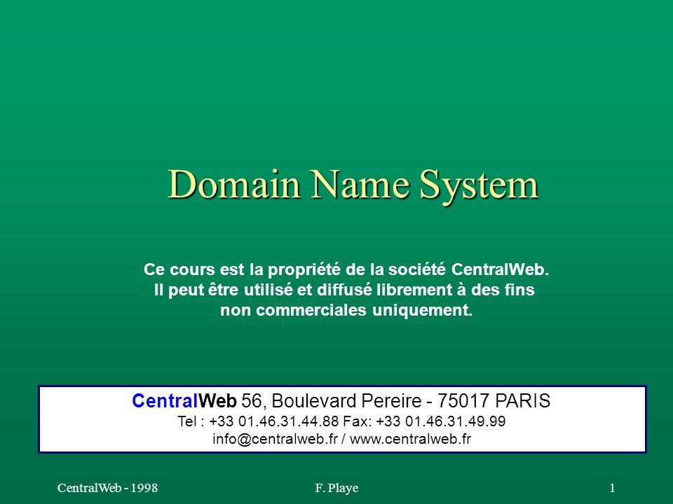 Domain Name System CentralWeb 56, Boulevard Pereire - 75017 PARIS