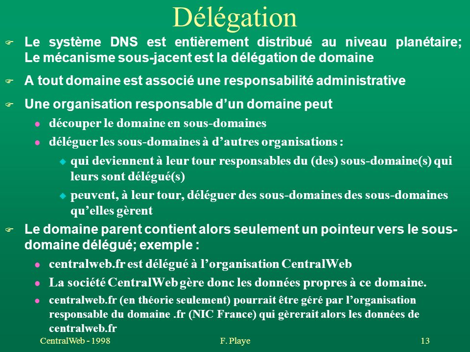 DélégationLe système DNS est entièrement distribué au niveau planétaire; Le mécanisme sous-jacent est la délégation de domaine.