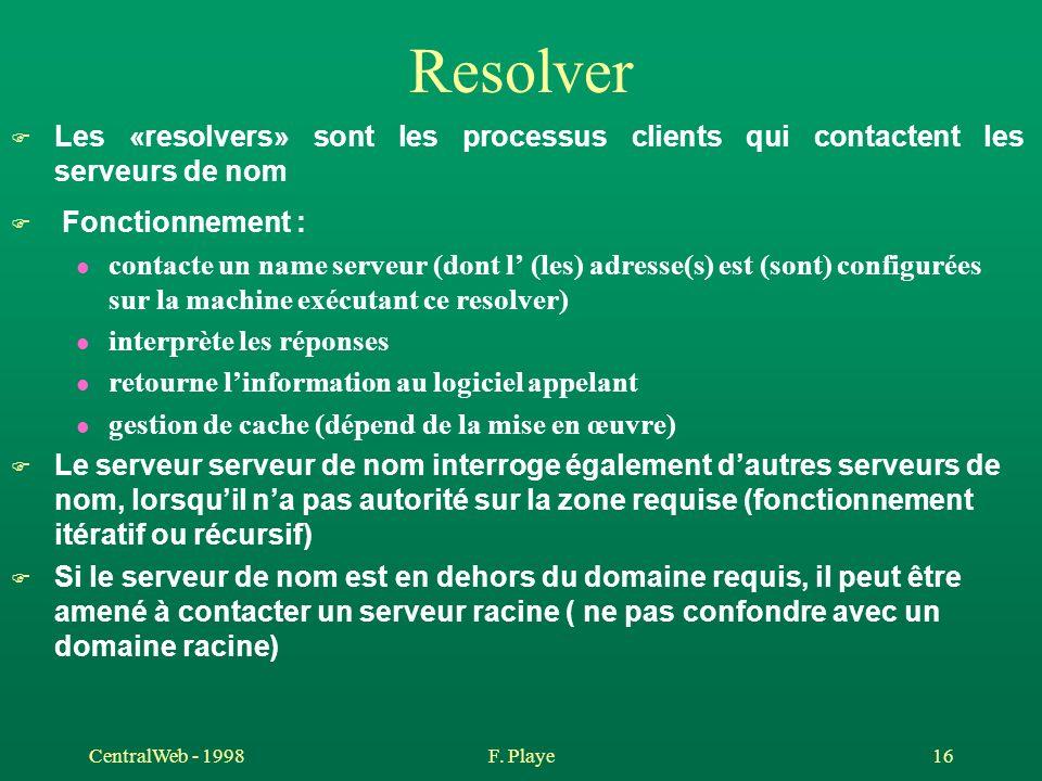 Resolver Les «resolvers» sont les processus clients qui contactent les serveurs de nom. Fonctionnement :