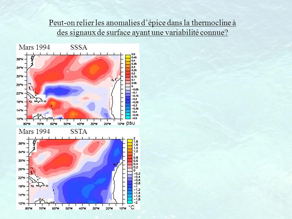 Peut-on relier les anomalies d'épice dans la thermocline à des signaux de surface ayant une variabilité connue