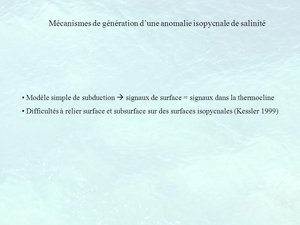 Mécanismes de génération d'une anomalie isopycnale de salinité