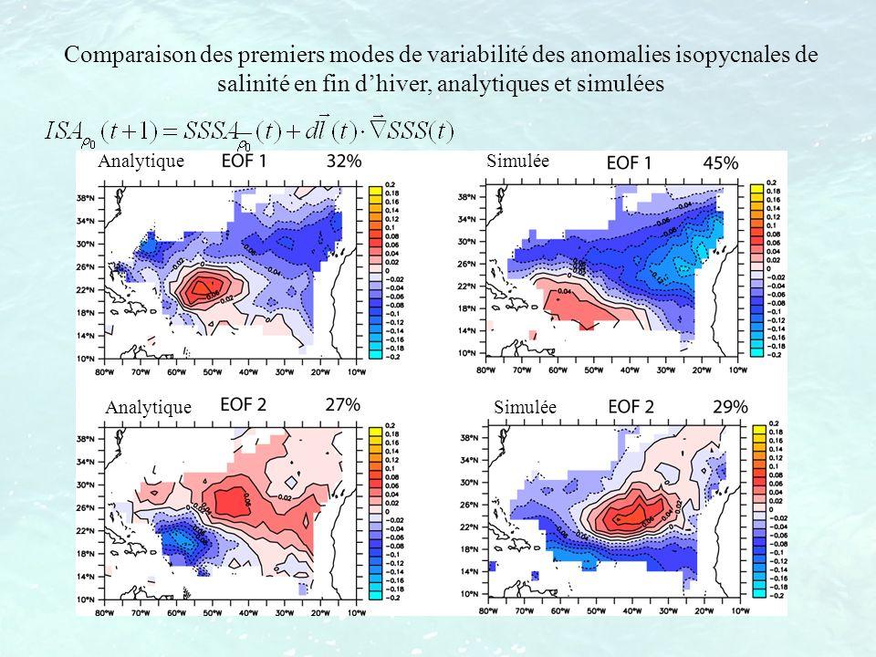 Comparaison des premiers modes de variabilité des anomalies isopycnales de salinité en fin d'hiver, analytiques et simulées