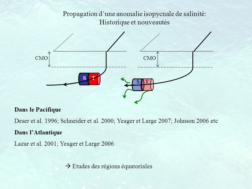 Propagation d'une anomalie isopycnale de salinité: