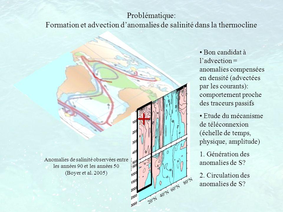 Problématique: Formation et advection d'anomalies de salinité dans la thermocline.
