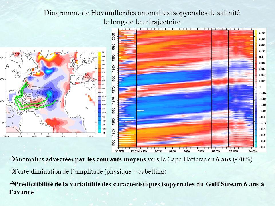 Diagramme de Hovmüller des anomalies isopycnales de salinité