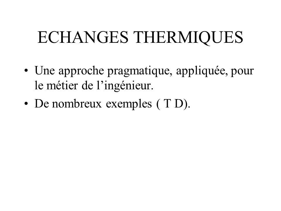 ECHANGES THERMIQUES Une approche pragmatique, appliquée, pour le métier de l'ingénieur.