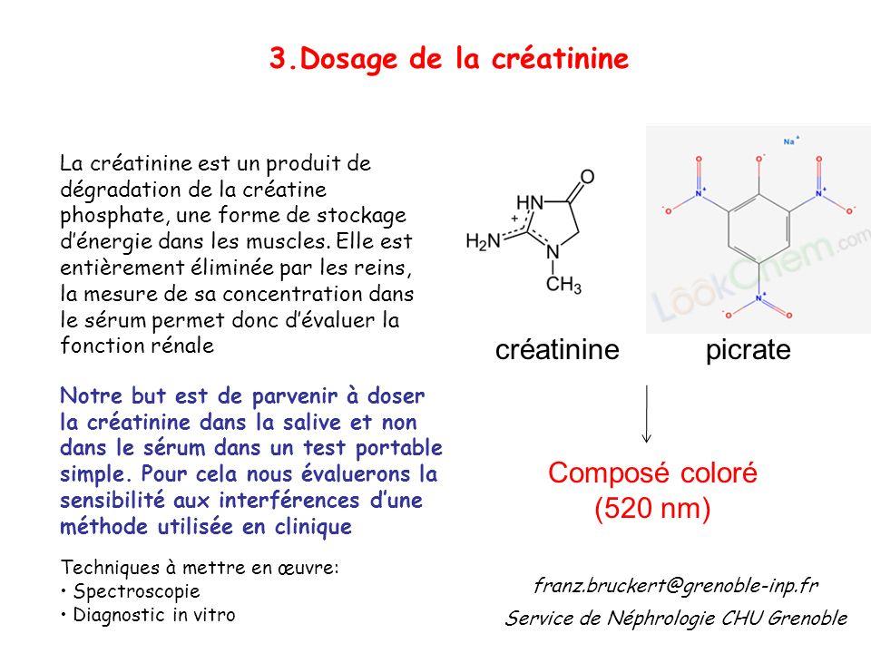 3.Dosage de la créatinine