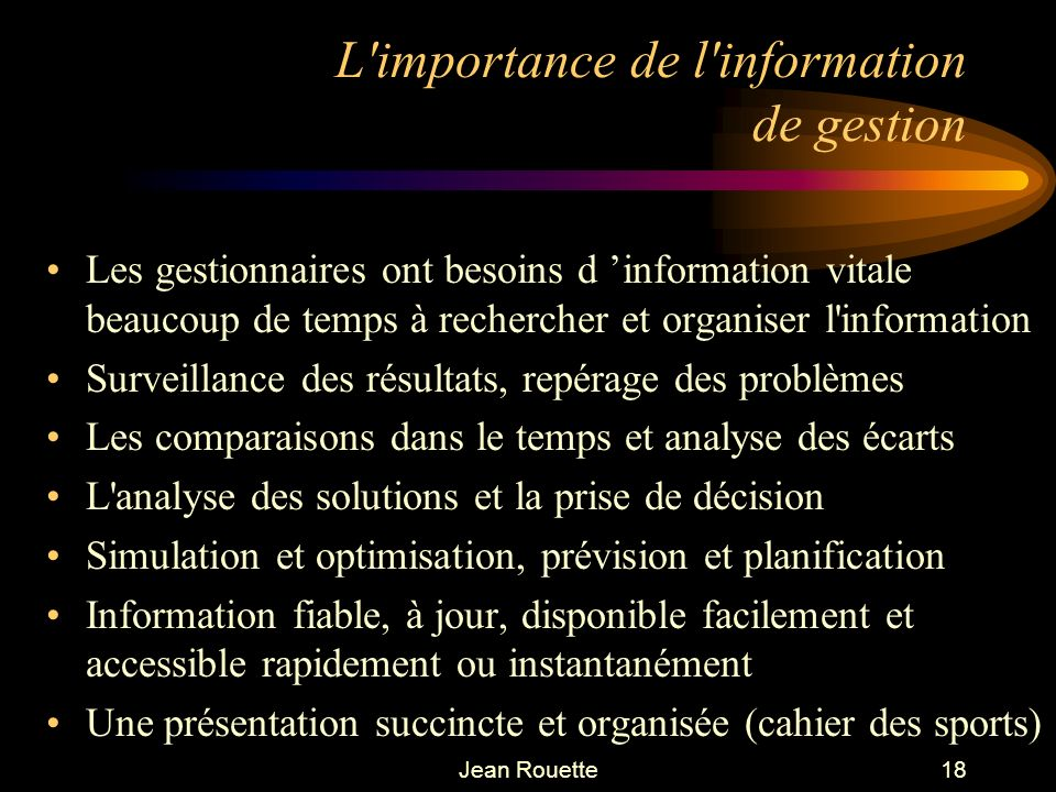 L importance de l information de gestion