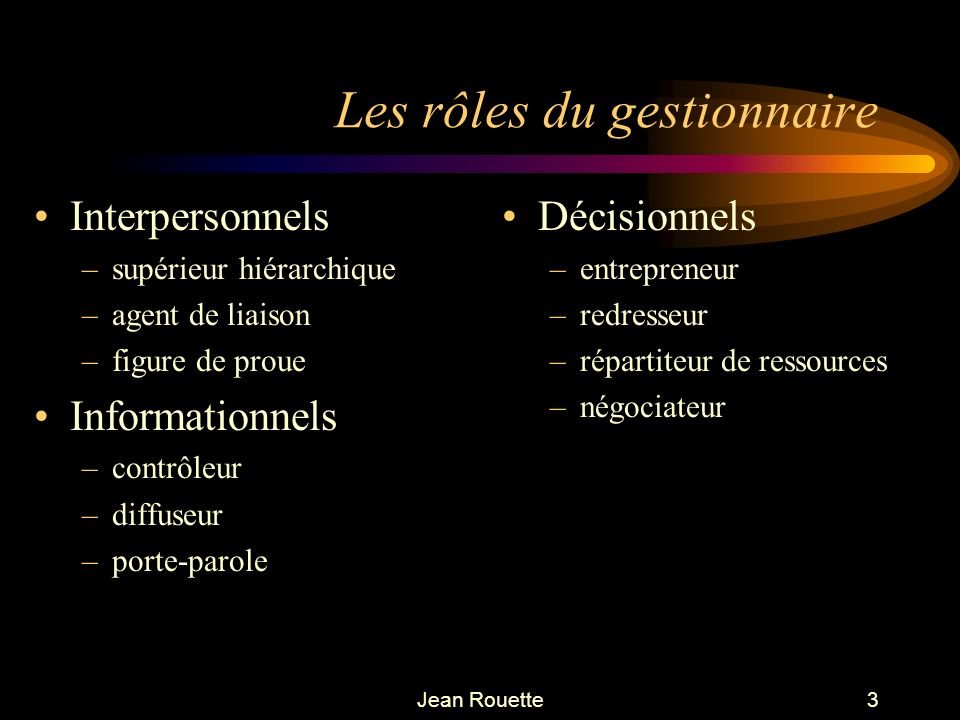 Les rôles du gestionnaire