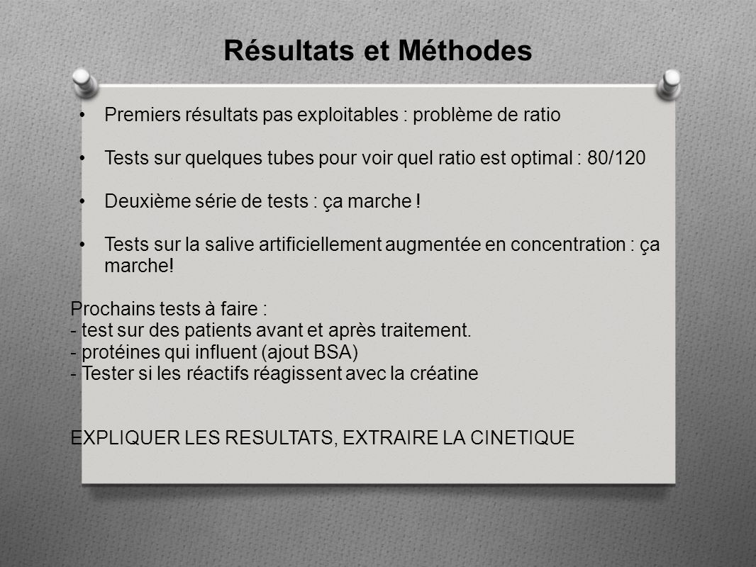 Résultats et Méthodes Premiers résultats pas exploitables : problème de ratio. Tests sur quelques tubes pour voir quel ratio est optimal : 80/120.