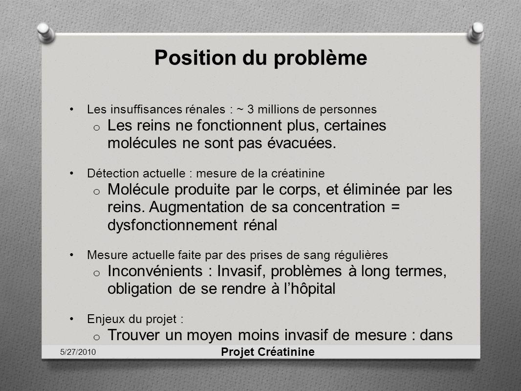 Position du problèmeLes insuffisances rénales : ~ 3 millions de personnes. Les reins ne fonctionnent plus, certaines molécules ne sont pas évacuées.