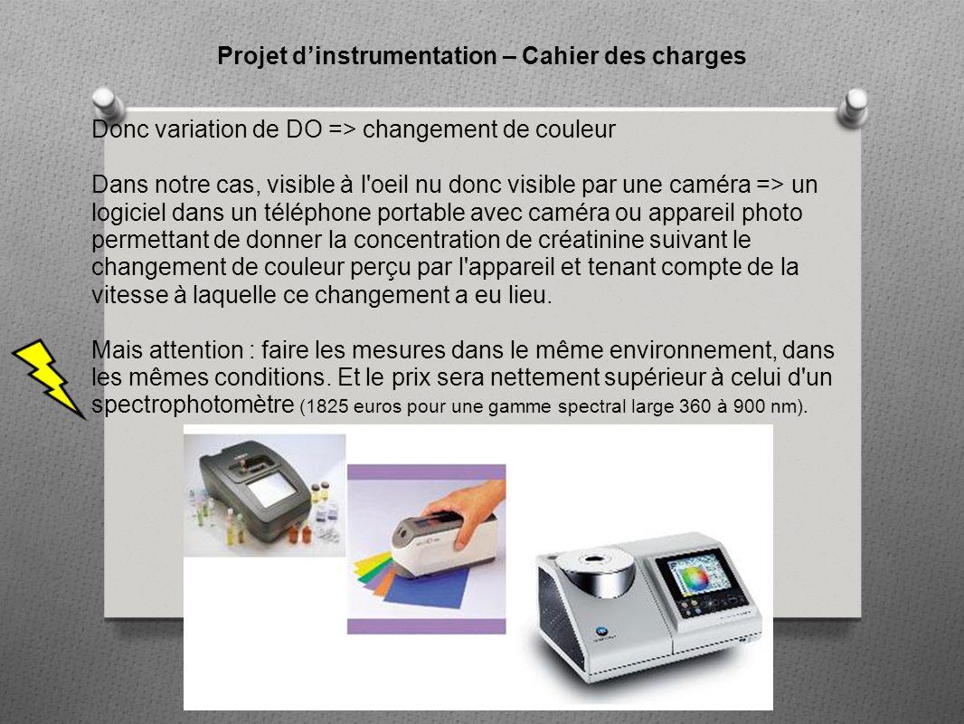 Projet d'instrumentation – Cahier des charges