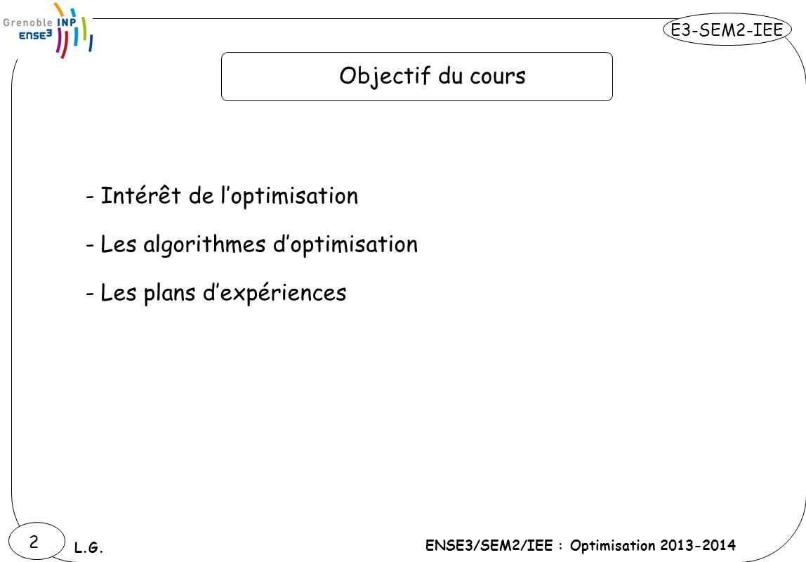 Objectif du cours Intérêt de l'optimisation Les algorithmes d'optimisation Les plans d'expériences