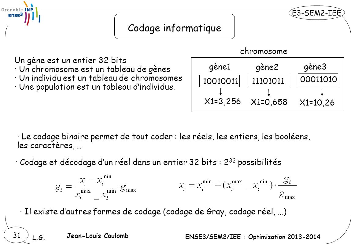 Codage informatique chromosome Un gène est un entier 32 bits