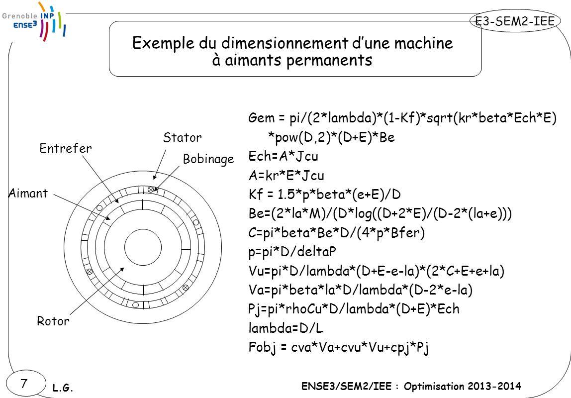 Exemple du dimensionnement d'une machine à aimants permanents