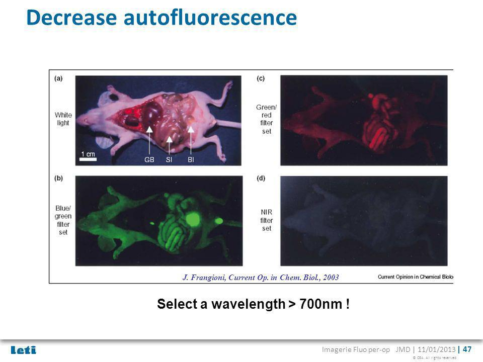 Decrease autofluorescence