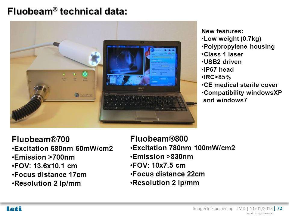 Fluobeam® technical data: