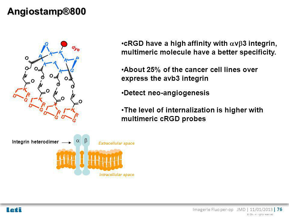 Angiostamp®800 cRGD have a high affinity with avb3 integrin, multimeric molecule have a better specificity.