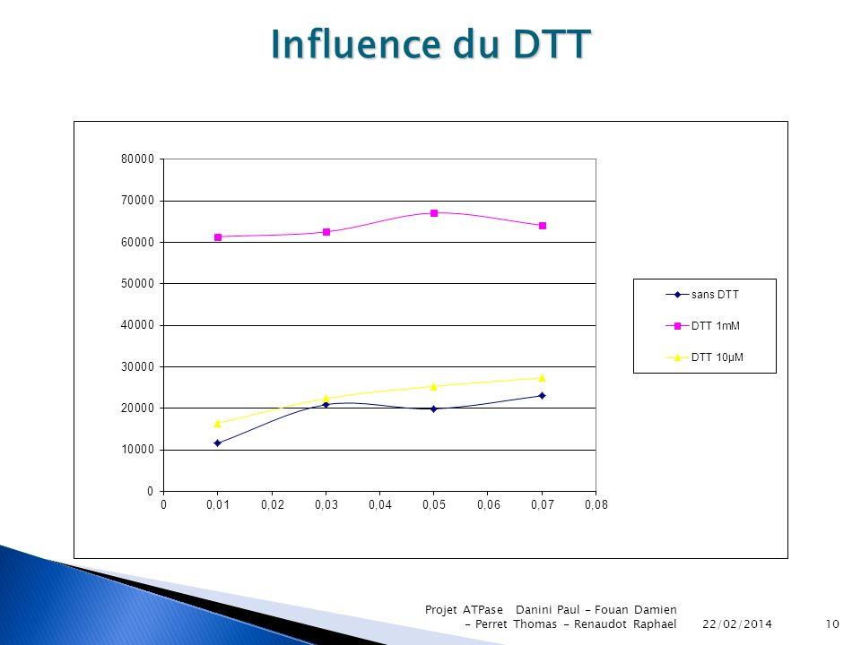 Influence du DTT Projet ATPase Danini Paul - Fouan Damien - Perret Thomas - Renaudot Raphael.
