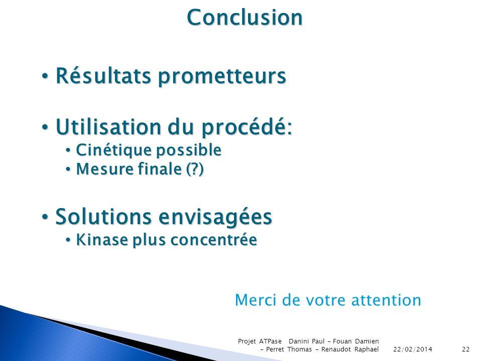 Résultats prometteurs Utilisation du procédé: