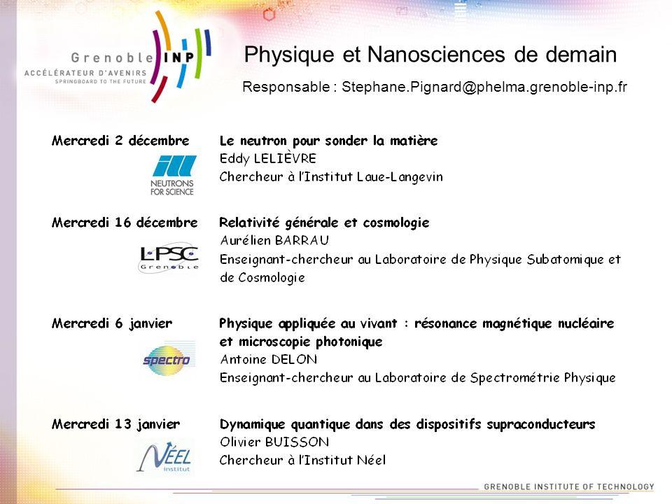 Physique et Nanosciences de demain