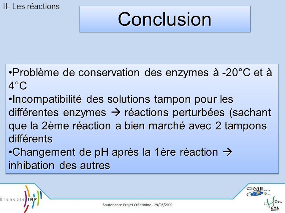 Conclusion Problème de conservation des enzymes à -20°C et à 4°C