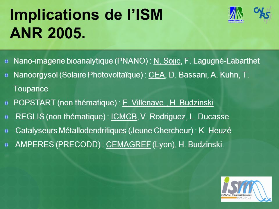 Implications de l'ISM ANR 2005.