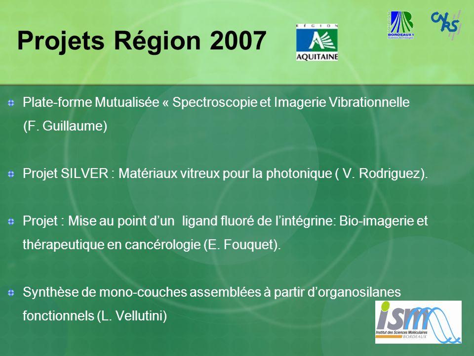 Projets Région 2007 Plate-forme Mutualisée « Spectroscopie et Imagerie Vibrationnelle. (F. Guillaume)