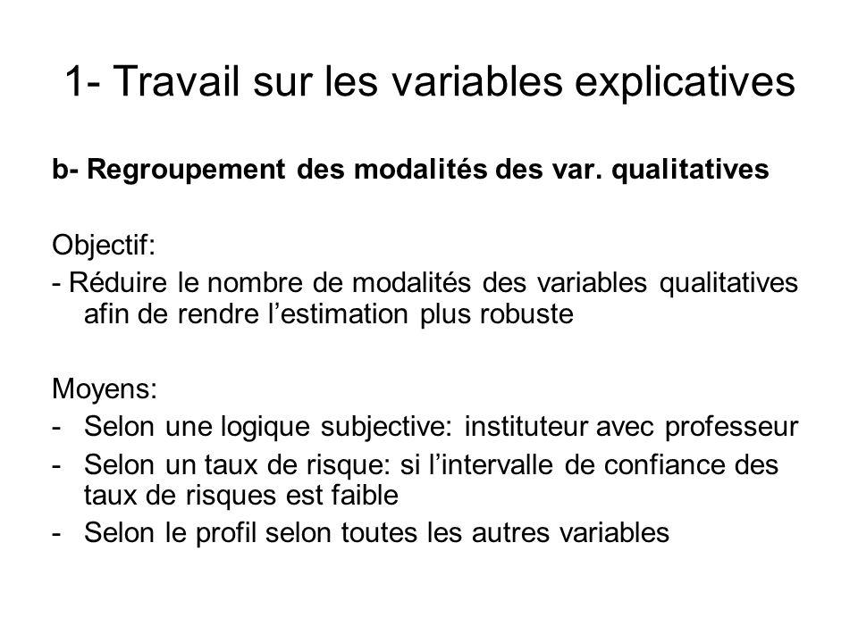 1- Travail sur les variables explicatives