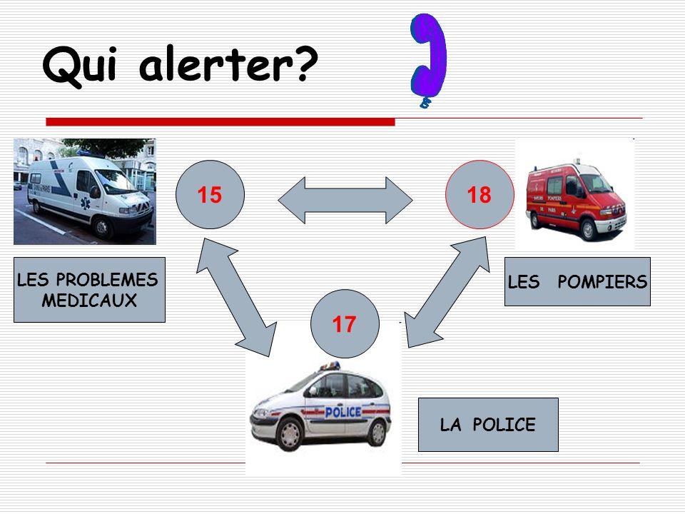 Qui alerter 15 18 LES PROBLEMES MEDICAUX LES POMPIERS 17 LA POLICE