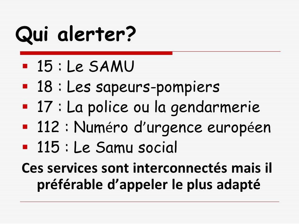Qui alerter 15 : Le SAMU 18 : Les sapeurs-pompiers