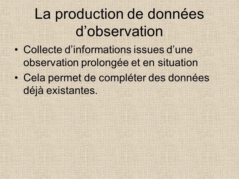 La production de données d'observation