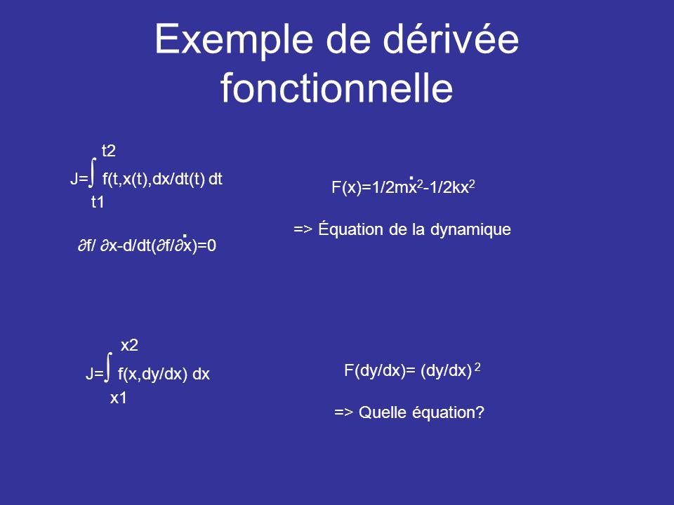 Exemple de dérivée fonctionnelle