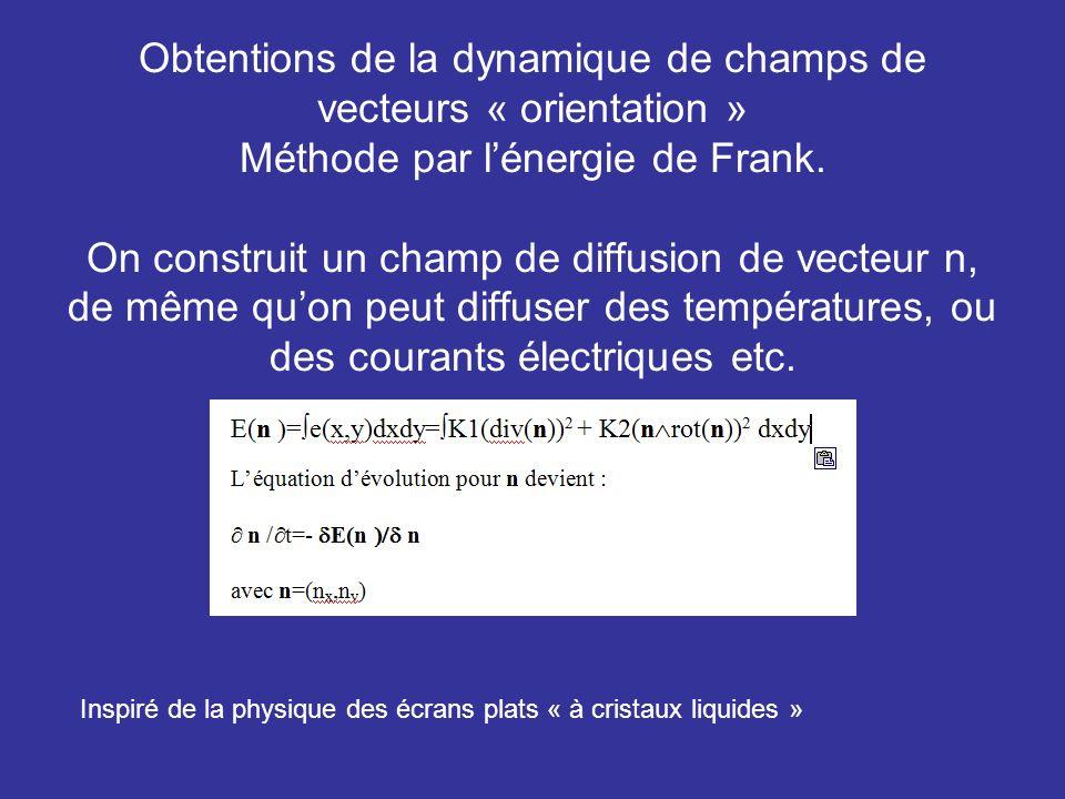 Obtentions de la dynamique de champs de vecteurs « orientation » Méthode par l'énergie de Frank. On construit un champ de diffusion de vecteur n, de même qu'on peut diffuser des températures, ou des courants électriques etc.