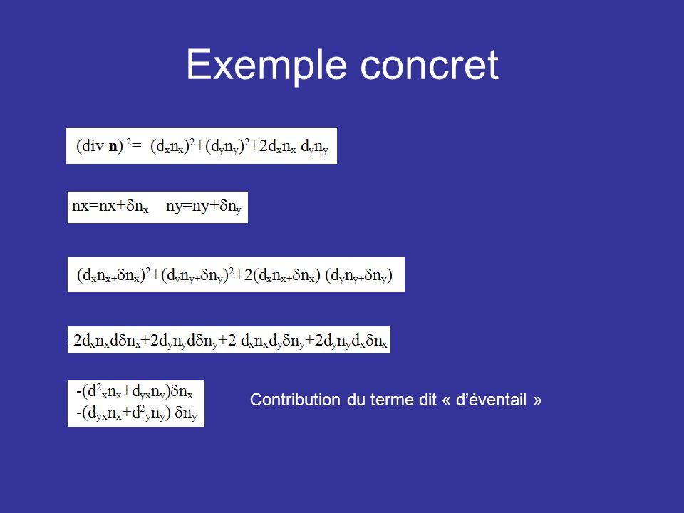 Exemple concret Contribution du terme dit « d'éventail »